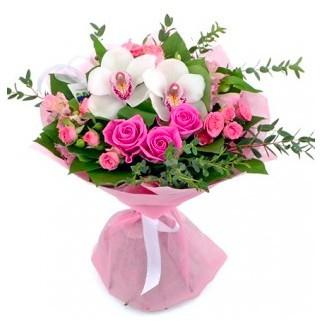 Букет из 3 кустовых роз, 3 роз Аква и 3 орхидей «Девичья нежность»