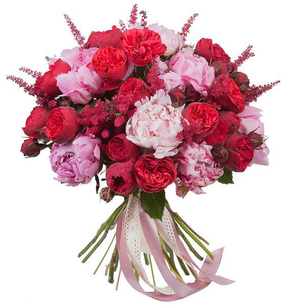 Букет из 21 розы Пиано и 11 пионов Sarah Bernhardt «Настоящий романтик»
