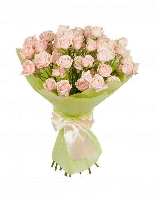 Букет  из 11 кустовых роз «Нежная карамель »