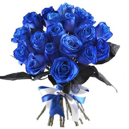 Букет из 21 синей розы «Чарующая ночь»