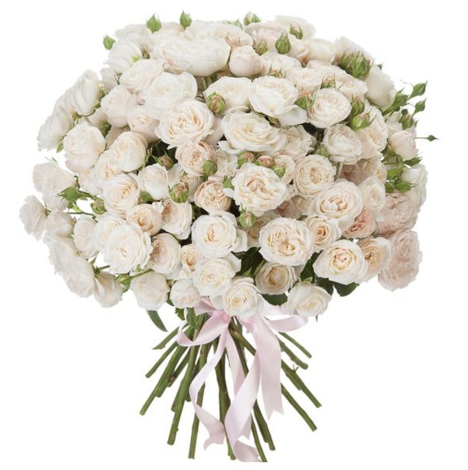 Букет из 35 кустовых роз «Розовая карамель»