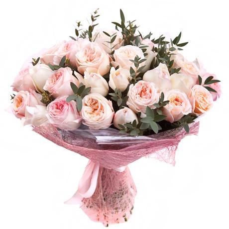 Букет из 35 пионовидных роз Джульетта и Пинк Охара «Поцелуй дриады»