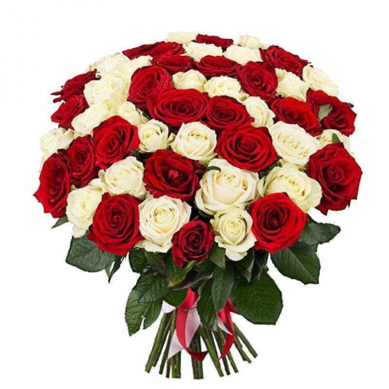 Букет из 41 красной и белой роз «Контрасты любви»