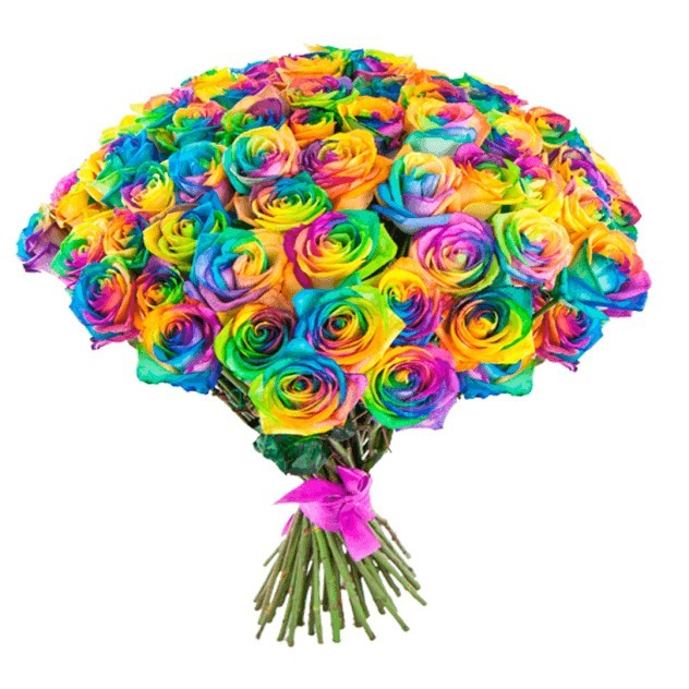 Букет из 49 радужных роз «Цветная палитра»