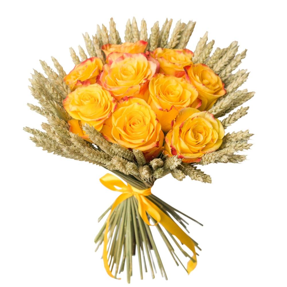 Букет из 9 желтых роз и колосков «Благодать »