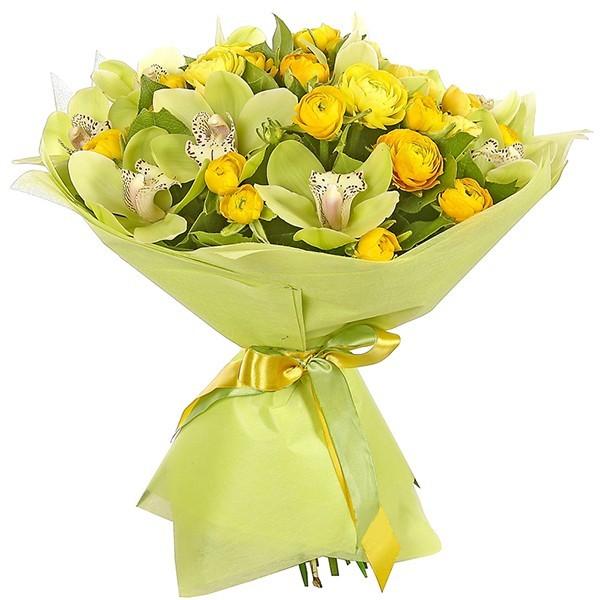 Букет из 19 ранункулюсов и 10 орхидей «Улыбка Артемиды»