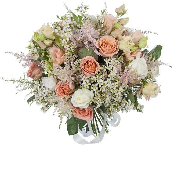 Букет из 17 роз, 10 фрезий, 5 эустом и 3 ваксфлауэров «Неисправимый романтик»