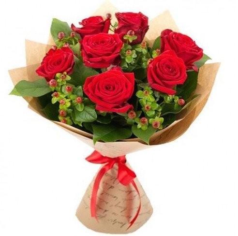 Букет из 7 красных роз Гран При «Бокал бордо»