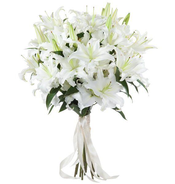Букет невесты из 15 восточных белых лилий «Ласковый шёпот»