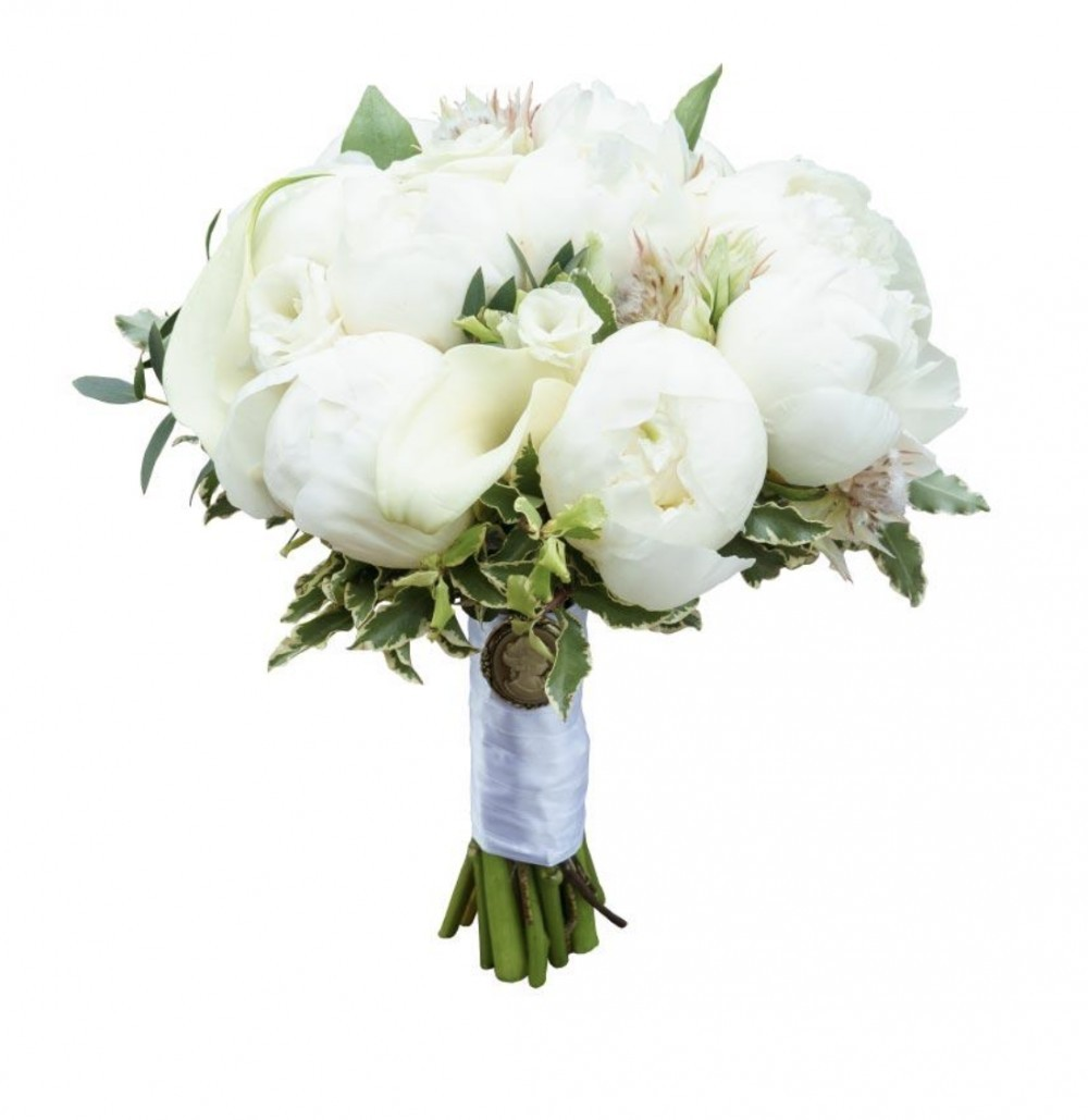 Букет невесты из 11 пионов, 8 калл, 4 альстромерий и 3 лизиантусов «С тобой навсегда»