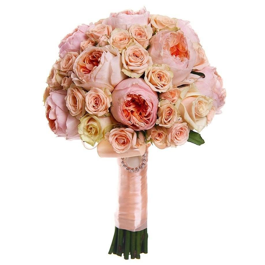 Букет невесты из 9 роз Дэвид Остин и 16 кустовых роз «Поющие сердца»