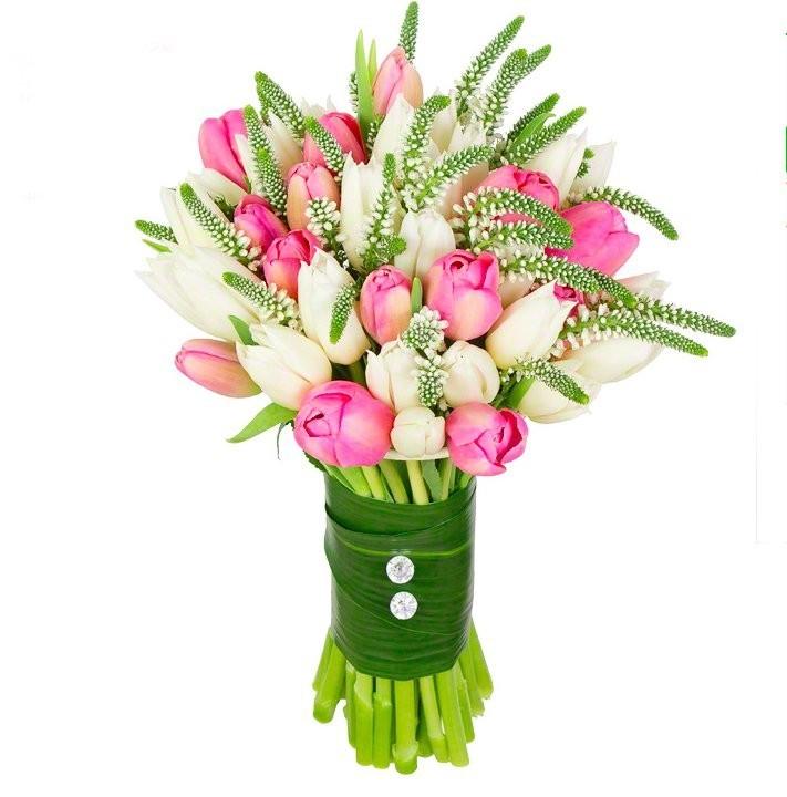 Букет из 35 тюльпанов и 30 вероник «Любовная баллада»