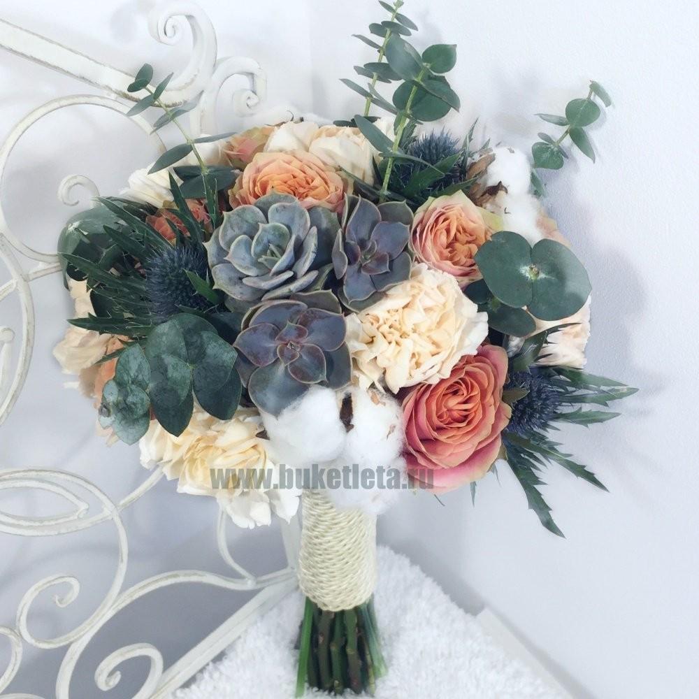 Букет невесты из 9 Роз Вайлд Лук и 7 Диантус Лиззи «Принцесса-лебедь»