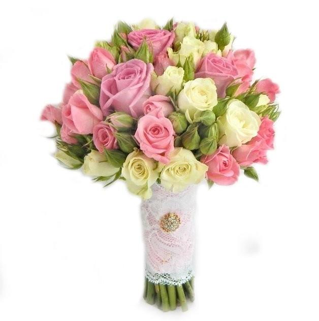 Букет невесты из 5 розовых роз Аква и 16 кустовых роз «Мгновения счастья»