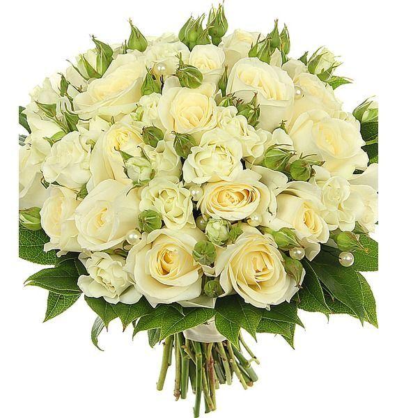 Букет невесты из 15 одноголовых и 7 кустовых белых роз «Небесный союз»
