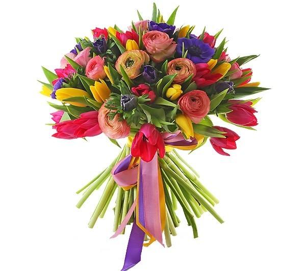 Букет из 11 анемонов, 12 ранункулюсов и 35 тюльпанов «Слова любви»
