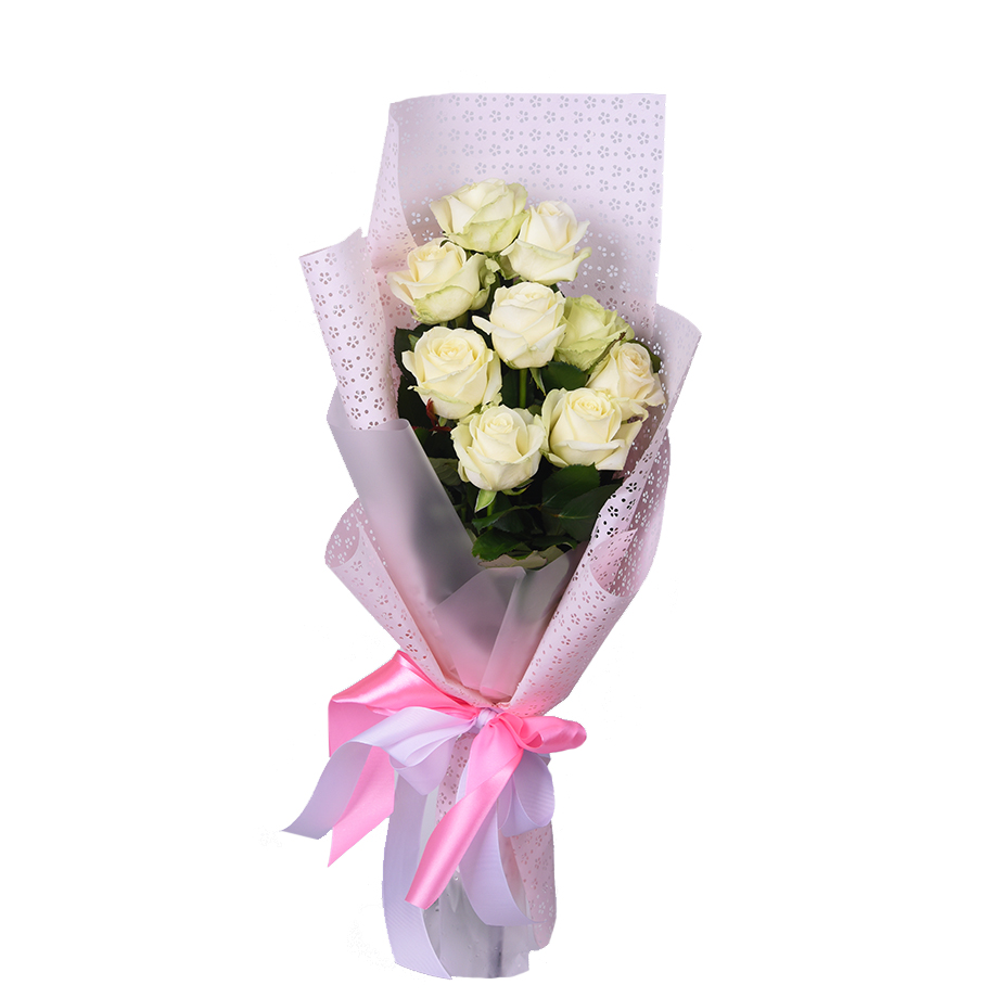 Букет из 9 белых роз  «Крепкие узы»