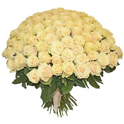 Букет из 101 кремовой розы Пич Аваланж «P.S. Я люблю тебя»