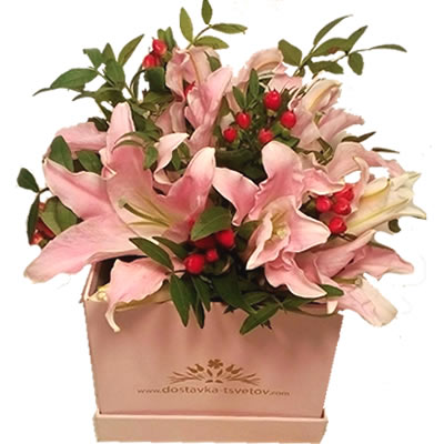 Цветы в коробке с 3 лилиями и гиперикумом «Пианистка»