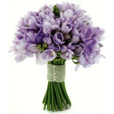 Букет невесты из 75 фиолетовых фрезий «Нежные узы»