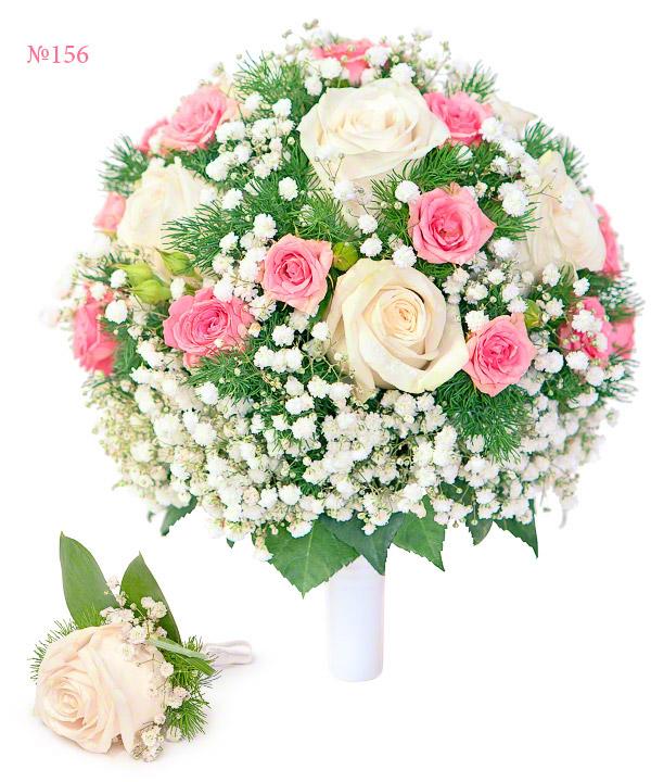 Букет невесты из 5 одноголовых и 2 кустовых роз «Твоя избранница»