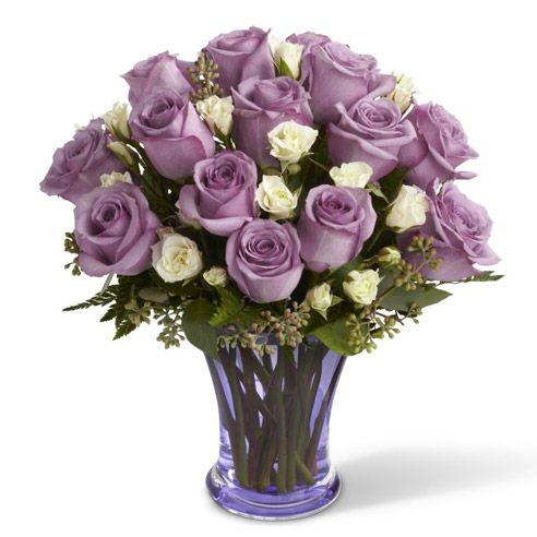 Букет из фиолетовых и белых роз  «Сладкий плен»
