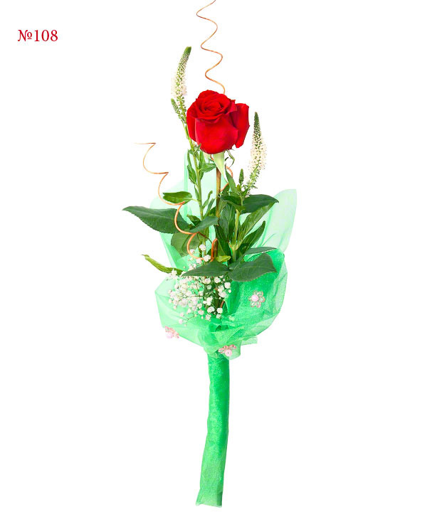 Букет из красной розы и декора «Фрейя»