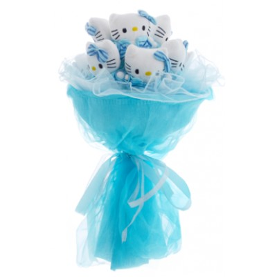Букет из 7 игрушек Hello Kitty голубого цвета «Нежно-голубое очарование»