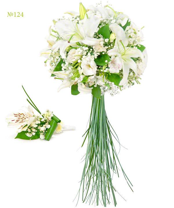 Букет невесты из лилий, эустом, альстромерий и зелени «Сады Боболи»