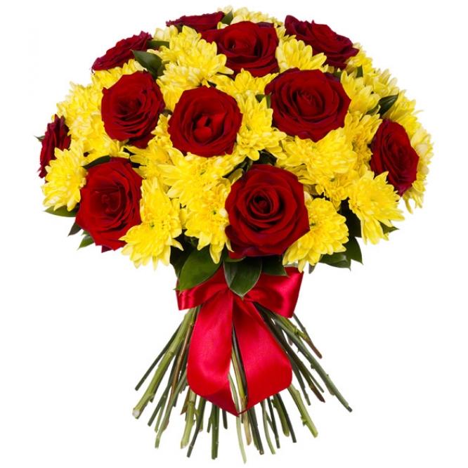 Букет-микс из 65 красных роз с желтыми хризантемами  «С любимыми не расставайтесь »
