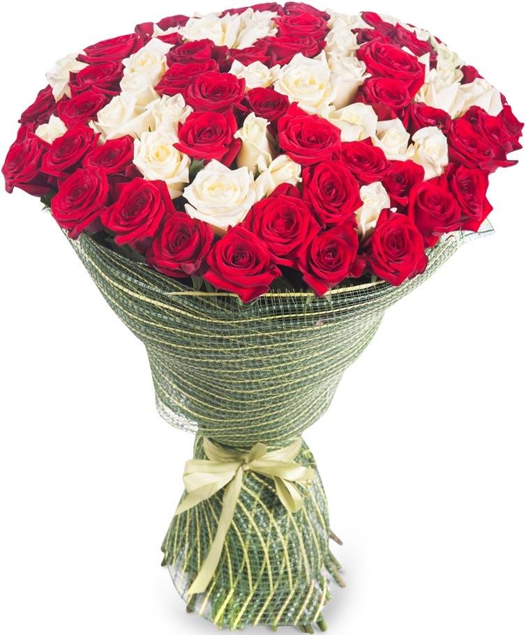 Букет из 65 роз красного и белого цвета «Капелька света»
