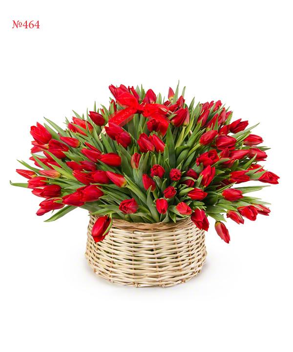 Корзина цветов со 150 тюльпанами «Фанфан-тюльпан»