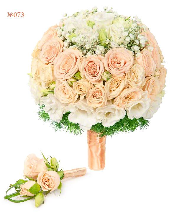 Букет невесты из 8 кустовых роз и 5 эустом «Свадебные цветы»