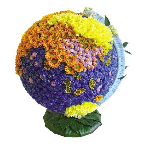 Цветочная композиция из 70 кустовых хризантем «Весенний глобус»