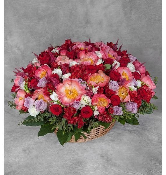 Корзина цветов с 65 розами, 30 альстромериями и 31 пионом «Под твоим окном»
