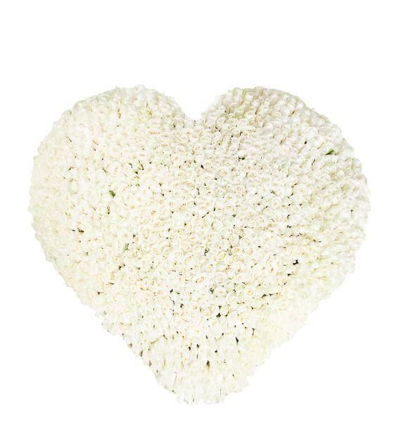 Цветочная композиция из 1001 белой розы «Белоснежное сердце»