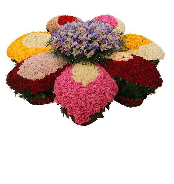 Цветочная композиция из 710 роз, 55 орхидей, 60 фрезий и 55 ирисов «Океан ароматов»