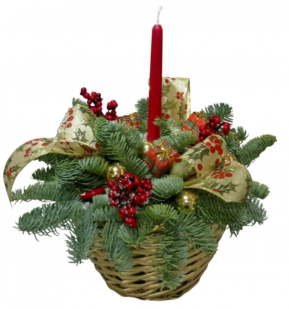 Новогодняя композиция с натуральным лапникоми и ёлочными игрушками «Снежная ночь»