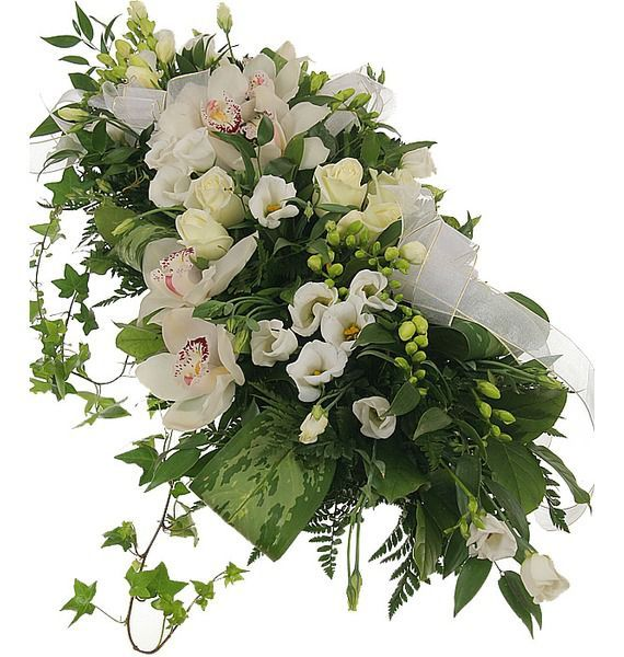 Цветочная композиция из белых роз, орхидей и фрезий «Праздничный стол»