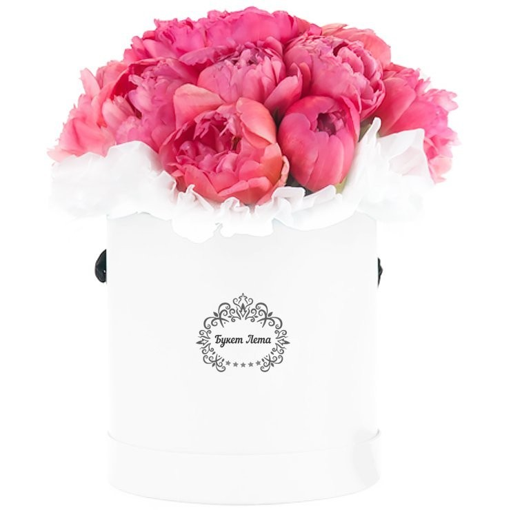 Цветы в шляпной коробке с 9 пионами «Пионовый вальс»