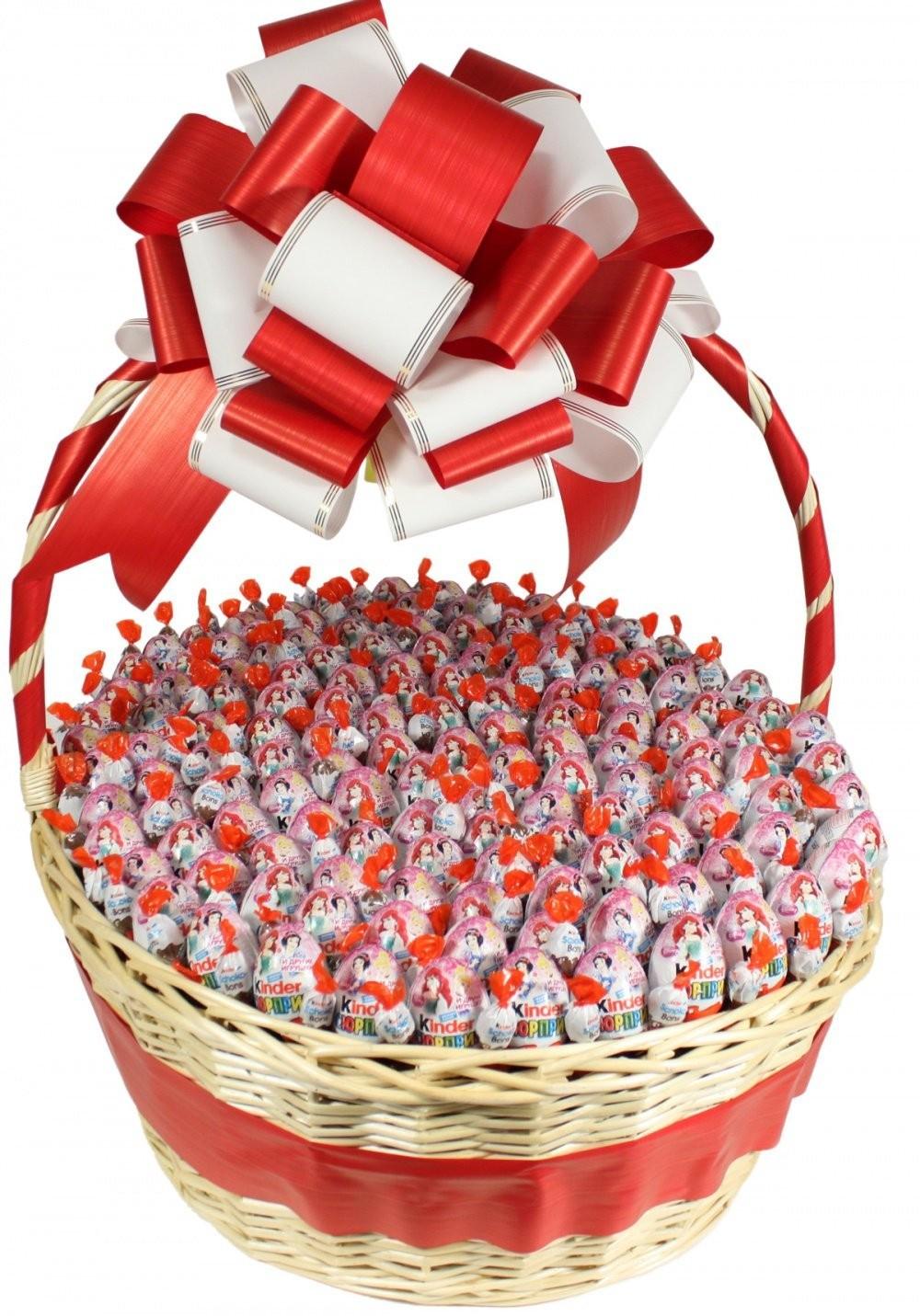 Сладкая корзина со 100 киндер-сюрпризами «Вкусные радости»