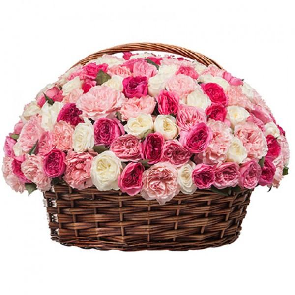 Корзина цветов со 155 пионовидными розами  «Розовый карнавал»