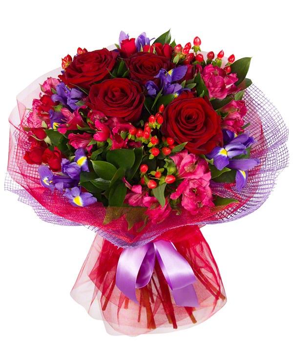 Букет из 5 альстромерий, 5 роз, 2 кустовых роз и 6 ирисов «Пламенеющий закат»