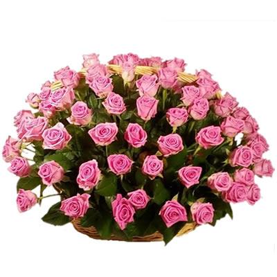 Корзина цветов со 101 розовой розой «На девятом облаке»
