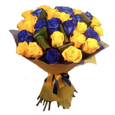 Букет из 29 оранжевых и фиолетовых роз «Авангард»