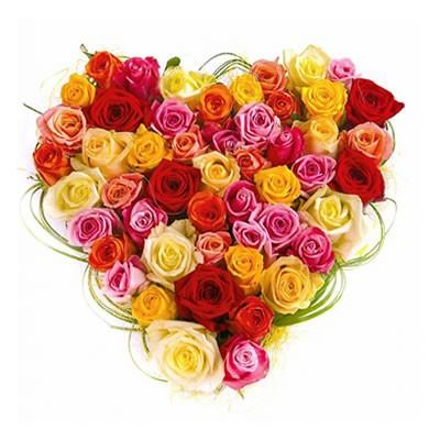 Цветочная композиция из 51 розы и берграса «Любящее сердце»