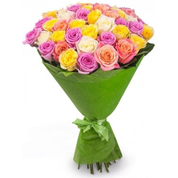 Букет-микс из 41 розы разного цвета «Удивительный карнавал»