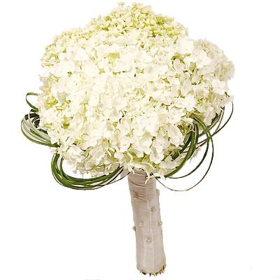Букет невесты из 5 белых гортензий «Вершина счастья»