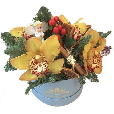 Цветы в коробке  с 5 орхидеями «Восточная красавица»