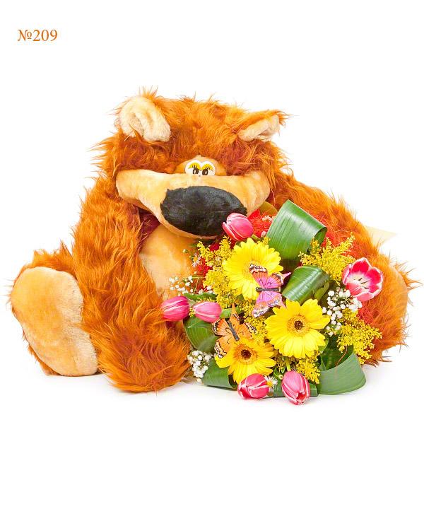 Подарочный набор мягкая игрушка и букет из ярких цветов «Мохнатый лис»